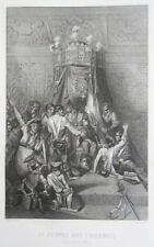 """""""The people at the Tuileries"""" Original Early-19th Century French Engraving, 1830"""