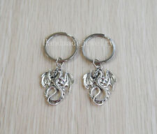 New 2pcs Handmade Silver Dragon Keychain Dragon Key Ring Unique Gift Idea