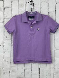 Psycho Bunny Boys 5/6 XS  Solid Purple Short Sleeve Polo Shirt