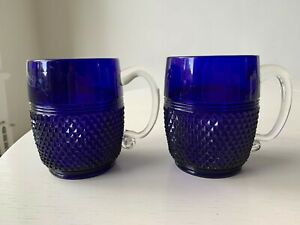 RARE set of 2 Cambridge Blue Cobalt Glass Diamond Point Mug Cup Clear Handle