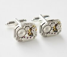 oblong striped vintage watch mechanism cufflinks 20mm silver