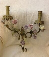 Exquisite Vintage Porcelain Flowers Ornate Metal Italian? French? Sconce Patina