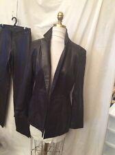 Cache Brown Leather One Button Blazer Jacket - Size 8 EUC