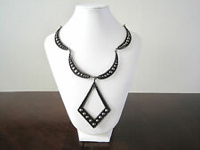 "Mexico Silver Tone Ball Dot Crescent Link Modern Pendant Necklace Eagle Mark 18"""
