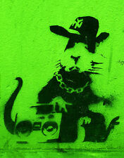 "BANKSY STREET ART *FRAMED* CANVAS PRINT Gangsta rat green 24x16"" stencil -"