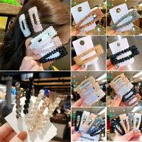 Women Snap Hair Clip Barrette Grips Pearl Hairpin Crystal Bead Pins Accessories