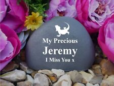 Pet Memorial Pebble (Stone effect)- Personalised - Weatherproof - Bearded Dragon