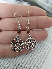 Handmade Pentagram earrings with tigers eye Bead Dangly Wicca Pagan Witch celtic
