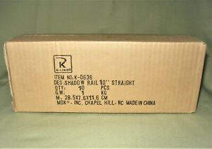 """10 PCS 'O' K-Line K-0636 10"""" SHADOW RAIL Straight Track    *NIB*"""