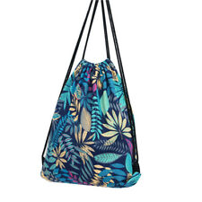 Blue Flower Print Drawstring Backpack School Bag Rucksack Shopping Sport Gym Bag