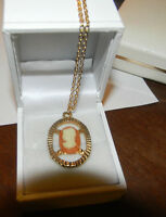 Dainty Coral Color Cameo Victorian Lady Gold Tone Pendant Chain Necklace.