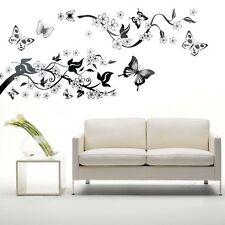 Vinyl Art Butterfly Flowers Trees Wall Sticker Decal Mural DIY Decoration