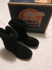 SOREL Black Suede Water Women's 9 Boots Zipper Thinsulate Waterproof w Box NICE