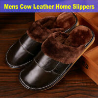 Men's Home Slippers Winter Warm Cow Leather Shoes Comfy Fur Lined House Slippers