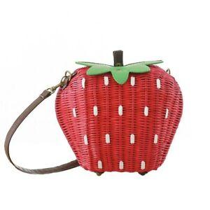 Women Straw Bags  Shoulder Bag Lady Strawberry Vintage Rattan Weave Handbag
