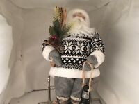 Pewter & Pine Holiday Collection Santa Claus Skiing Christmas Figure
