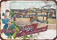 "Schlitz Brewing Company Rustic Retro Metal Sign 8"" x 12"""