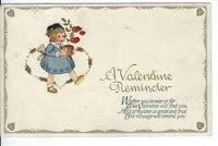 CH-035 Valentine Reminder, Little Girl, John A Winsch Divided Back Postcard