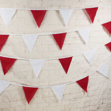 10M Red & White Football Bunting Flags England Fabric Party Decoration England