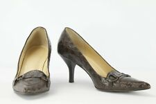 J. CREW Authentic Crocodile Alligator Pointed Toe High Heels Shoes Size 7.5