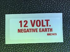 ARMY LAND ROVER 12 VOLT Negative earth STICKER RRC7473