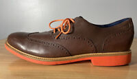 Cole Haan Mens Great Jones Wing Tip Shoes Brown Orange Leather C11235 SIZE 13 M