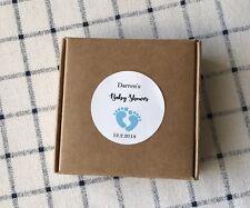 24x 4cm White Round Baby Feet Boy Baby Shower Favour Personalised Gift Sticker