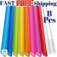 Reusable Boba Straws Smoothie Bubble Tea Tapioca Large Jumbo Wide Colored NEW