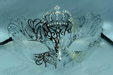 Womens Crown Luxury Filigree Metal Mardi Gras Venetian Masquerade Mask [Silver]