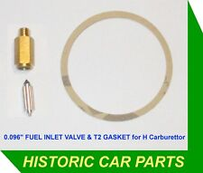 SU H4 Carburettor FUEL INLET NEEDLE VALVE & GASKET - MG TF Midget 1466cc 1954-55