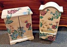 Vintage Shabby Wood Furniture Dresser Wardrobe Jewelry Trinket Boxes