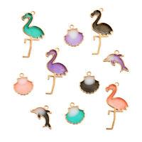 10Pcs Mixed Color Enamel Flamingo Scallop Charms Pendant Fit DIY Jewelry Making