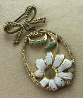 Antique Victorian Enamel Brooch 1900s 1910s Flower Floral Drop Dangle Daisy Bow