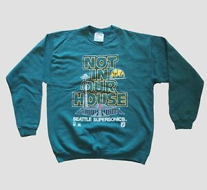 """Vintage Seattle Supersonics """"Not In Our House"""" Sweatshirt Green/L"""