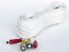 60 Feet Ivory White Color BNC Premade Cable for CCTV Security Camera