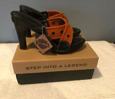 Harley Davidson Women's Heels Size 10  Orange/Black Cross Canvas Straps