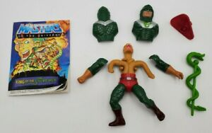1985 He-man Motu King Hiss Action Figure Complete Comic & Weapons
