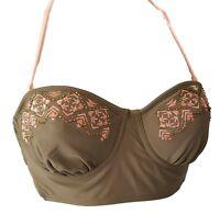 Candie's Juniors Brown Pink Tribal Print Bikini Swim Top NEW S M L XL NEW $36