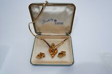 TRIFARI GOLD PLATED CITRINE STUDDED NECKLACE & EARRING SET C1951, ONE OF A KIND!
