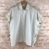 Madewell Women's Blue White Windowpane Ruffled Button Down Blouse Top Medium