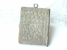 Vintage Large Silver 800 Slim Photo Locket Pendant w/ Flowers Etched Silver