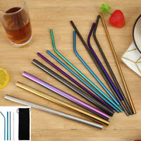5pcs Reusable Stainless Steel Straight Bent Drinking Straws + Cleaner Brush Kit