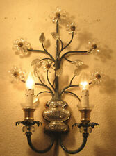 WONDERFUL ITALIAN SCONCE  BY BANCI / FLORENCE - IRON AND CRYSTAL -