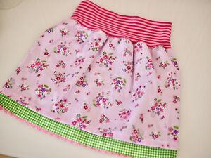 doppellagiger Mädchen Baumwoll Rock, Röckchen  Gr.110 Blumen & Karo rosa-bunt