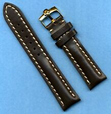 GENUINE OMEGA GOLD BUCKLE & 18mm GENUINE BROWN LEATHER VERY PADDED BAND STRAP