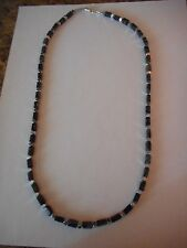Black Picasso serpentine tube beads & faceted silver cube bead necklace