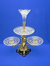 """Antique 3 Tier Brass Angels Sculpture Figurine w/ Crystal Trays 25"""" Tall"""