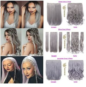 KOKO Clip in Hair Extension Silver Pastel Grey Lavender Grey Curly/Straight