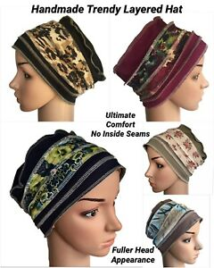 HEADWEAR  FOR HAIR LOSS, TRENDY LAYERED DESIGN HAT, CHEMO, CANCER, ALOPECIA