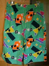 Big Sur California Vintage Shorts 80s Neon Green Geometric 1980s Sz L Cotton